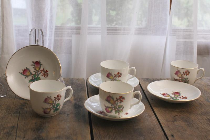antique vintage moss rose china tea or coffee cups w/ deep bowl saucers