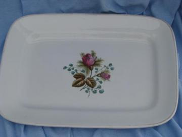 antique vintage moss rose platter, Meakin England Royal Ironstone China