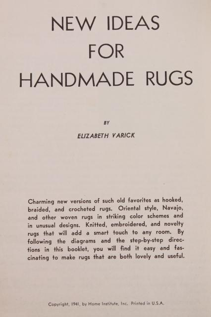 antique & vintage needlework booklets, rag rug making hooked & crochet rugs