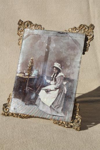 antique vintage ornate framed tinted photo portrait girl spinning art print
