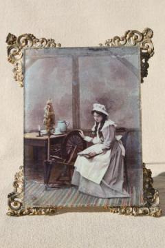 antique vintage ornate framed tinted photo portrait girl spinning art print