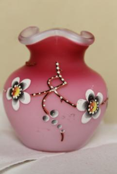 antique vintage peach blow satin glass vase, cherry blossom hand painted moriage