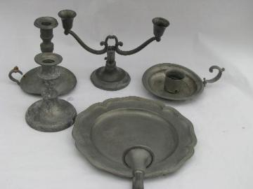 antique vintage pewter candlesticks lot and wall sconce candle bracket