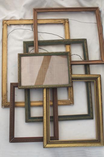 antique & vintage picture frame lot, empty wood frames w/ lovely old ...