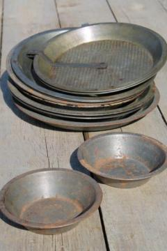 antique & vintage pie tins, pans from Mrs. Wagner's pies, Bjelde's Madison Wisconsin