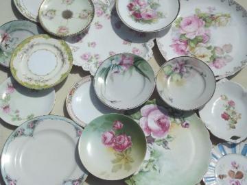 antique vintage pink roses china plates lot, rose floral porcelain plates