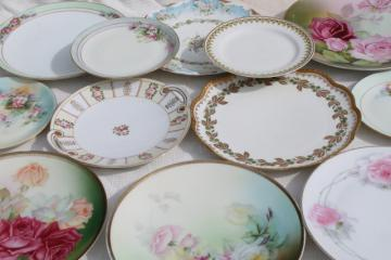 antique vintage plate collection, mismatched china plates w/ hand painted flowers