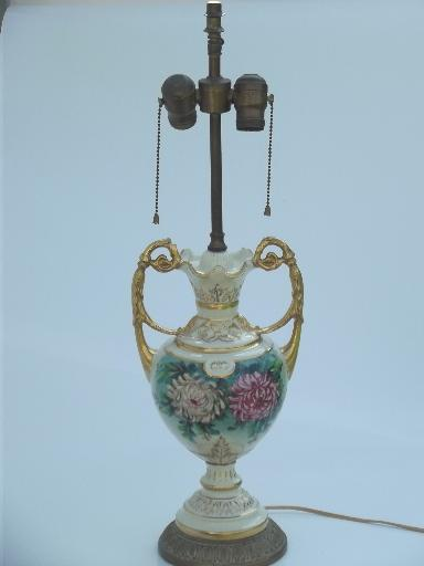 Antique Vintage Porcelain Urn Lamp Hand Painted Flowers