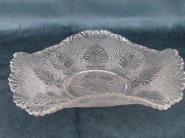 antique vintage pressed glass banana boat fruit bowl, Albany / Anthemion EAPG