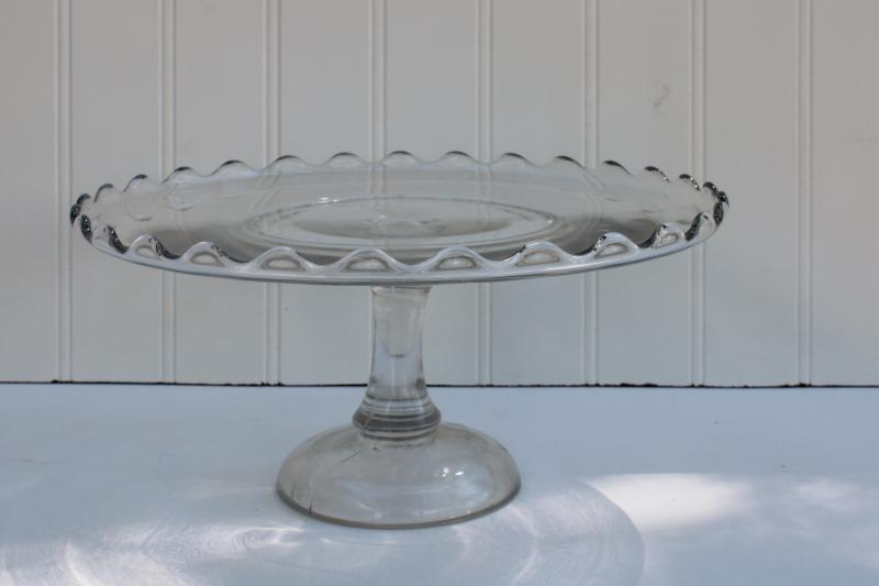 antique vintage pressed glass cake stand, bakery pedestal plate w/ scalloped rim
