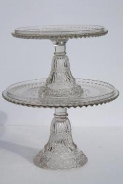 antique vintage pressed glass cake stands large & small plates w/ brandy well rims