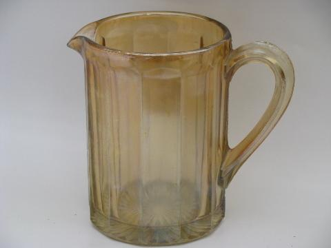 antique vintage pressed glass carnival luster glass pitcher, bowl