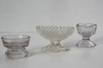 antique vintage pressed glass salt cellars, fancy master salts or egg cups