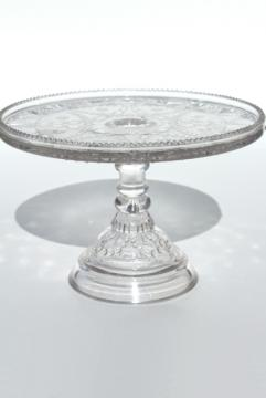 antique vintage pressed pattern glass cake stand, EAPG Festoon pedestal plate