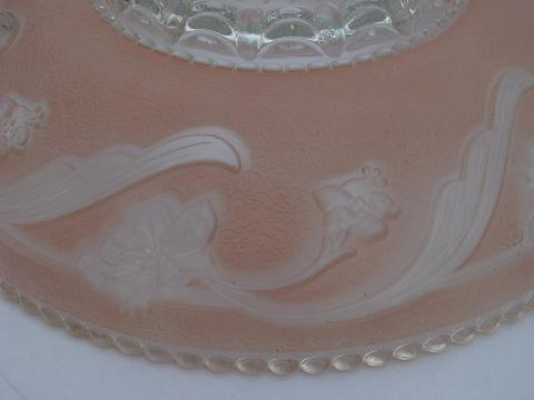 antique vintage pressed pattern glass pendant light shades, floral w/ pink