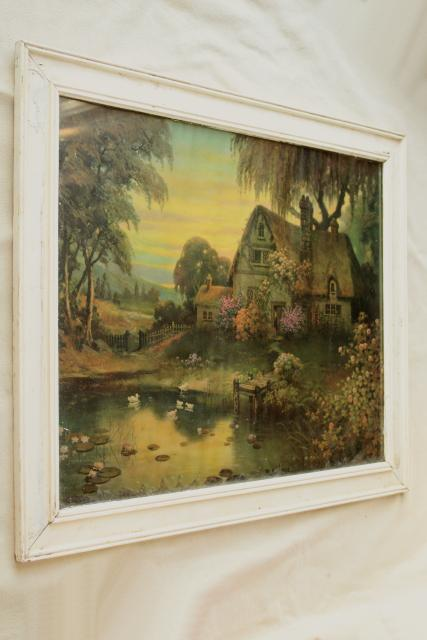 antique vintage print, thatched cottage garden pond scene in chippy old white paint wood frame
