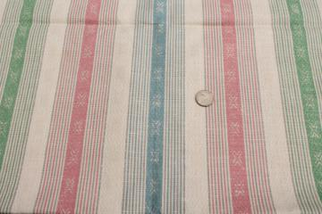antique vintage pure linen fabric, pastel ticking woven stripe towel or linens fabric