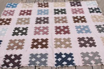 antique vintage quilt top, country primitive old cotton shirting fabric cross hatch patchwork