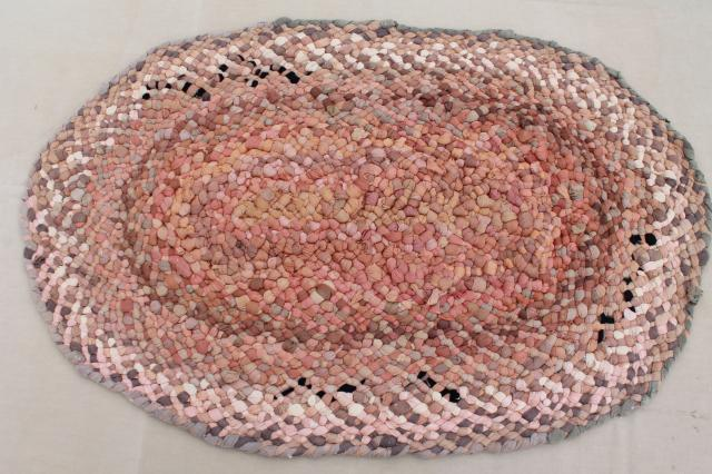 antique vintage rag rug handmade from silk & cotton stockings in buff tan, ecru, pink & ivory