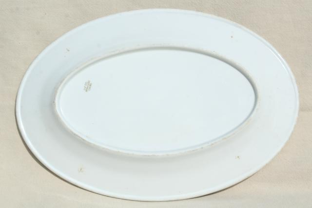 antique vintage restaurant ironstone china platter marked for West End Hotel St. Louis