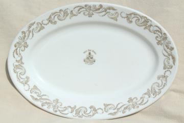 antique vintage restaurant ironstone china platter marked for West End Hotel St. Louis