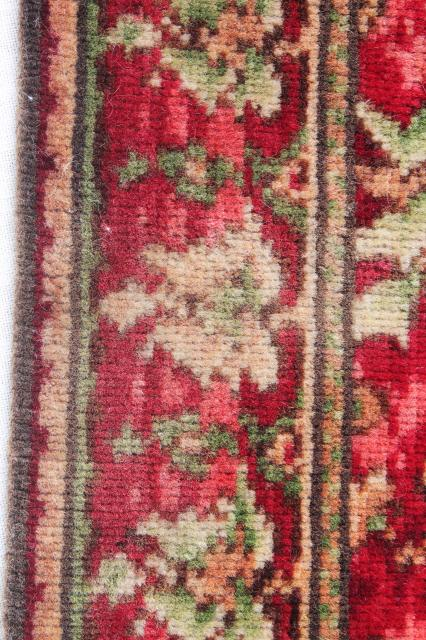 antique vintage rose red william morris style floral wool carpet stair rug remnant