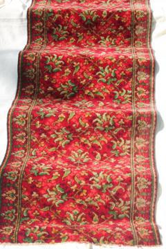 antique vintage rose red William Morris style floral wool carpet stair rug remnant