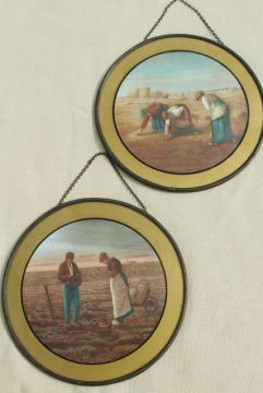 antique vintage round flue cover pictures, Gleaners prints w/ reverse painted glass