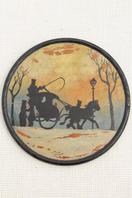 antique vintage round wood flue cover pictures, silhouette scenes w/ shabby worn paint