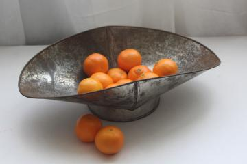 antique vintage scale pan, rustic old galvanized zinc metal bowl w/ scoop shape