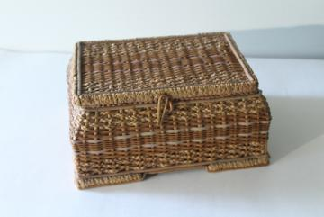 antique vintage sewing box, natural straw basket w/ pink satin casket lining