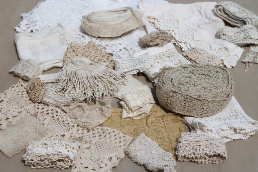 Antique Vintage Sewing Trim Lot Cluny Laces Crochet Lace