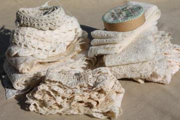 antique & vintage sewing trim lot - french val laces, crochet lace edgings, cotton eyelet trims