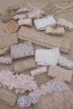 antique vintage sewing trims & crochet lace, fine embroidered cotton eyelet edgings etc.