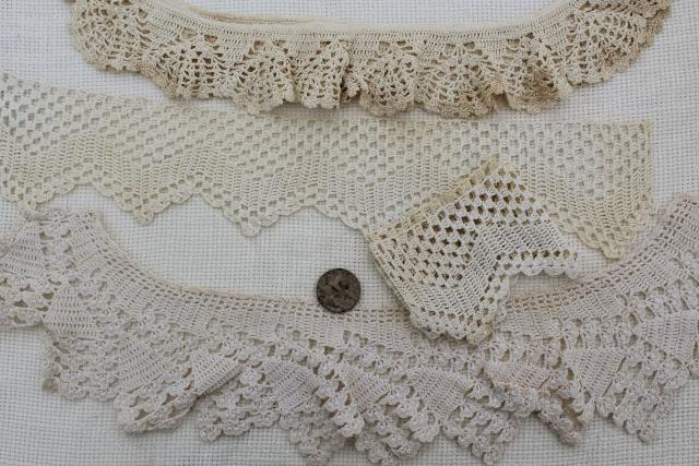 antique vintage sewing trims, crochet lace, tatting, knitted lace edgings
