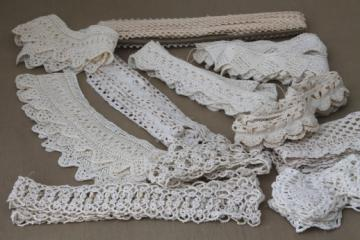 antique vintage sewing trims, fine cotton lace edgings, knitted lace & crochet