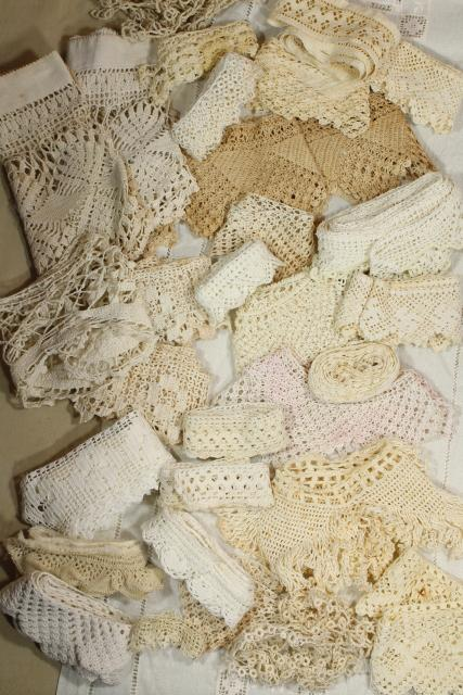 antique vintage sewing trims lace edgings, handmade crochet, tatting, knitted lace