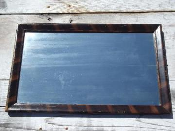 antique vintage shaving mirror in original old grain painted wood frame