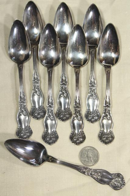 antique vintage silver fruit spoons, Wm Rogers & Son orange blossom pattern teaspoons