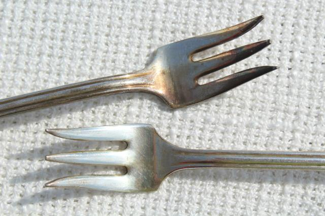 antique vintage silver olive forks, Viceroy silverplate set of 6 tiny forks