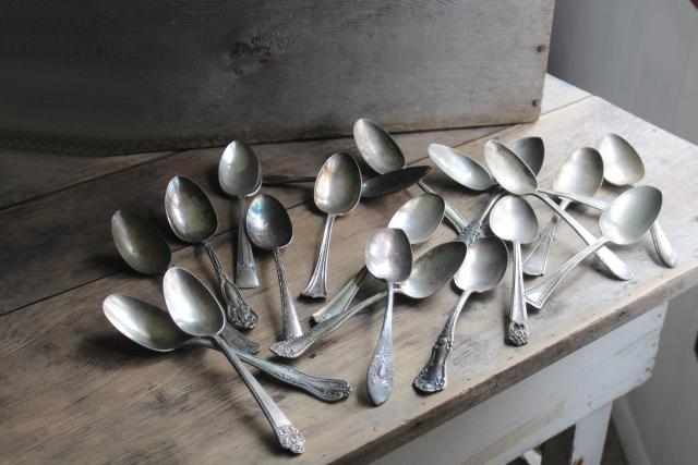 antique vintage silver plate flatware, 20 mismatched serving spoons, heavy ornate patterns
