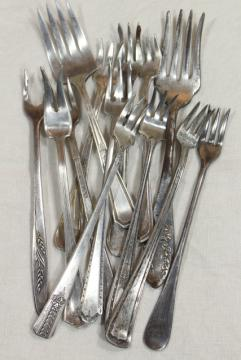 antique vintage silver plate flatware, pickle olive cocktail forks, serving pieces lot