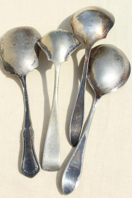 antique vintage silver plate flatware serving berry spoons, scoop shape bowl spoon collection