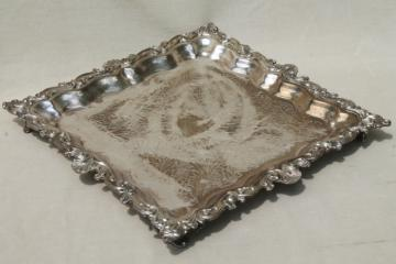 antique vintage silver plate footed tray, large square serving platter in silver over copper