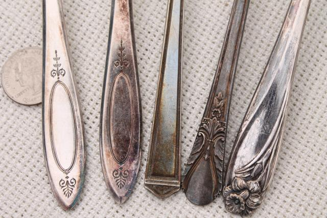 antique & vintage silver plate serving pieces & spoons, shabby tarnished silverware flatware lot