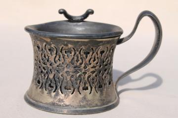antique vintage silver shaving mug w/ old engraved monogram RR, tarnished silverplate