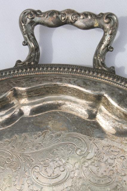 antique vintage silver tray 1875 Rockford silver plate serving tray w/ handles & antique vintage silver tray 1875 Rockford silver plate serving tray ...