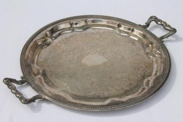 antique vintage silver tray, 1875 Rockford silver plate serving tray w/ handles