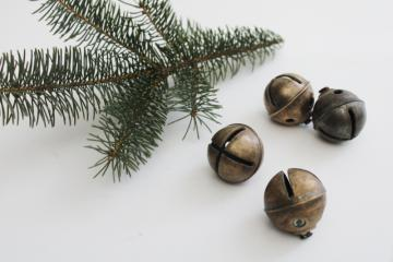 antique vintage sleigh bell jingle bells, large heavy solid brass bells