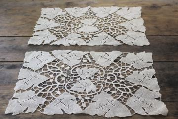 antique vintage table linens, pair of needle lace place mats, Venetian style Italian lace